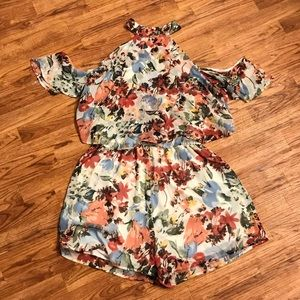 Multicolored Floral Print Romper